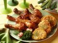 Baked Chicken Legs with Sweet Potato-Corn Fritters recipe