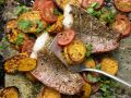 Baked Fish with Sweet Potatoes and Tomatoes recipe