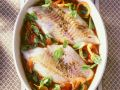 Baked Perch with Tomato Sauce and Basil recipe