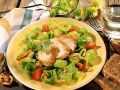 Brussels Sprouts Salad with Chicken, Tomatoes, and Walnuts recipe