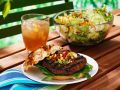 Burgers with Cherry Tomato and Corn Topping recipe