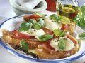 Crostini with Prosciutto, Mozzarella and Tomatoes recipe