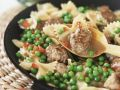 Farfalle with Peas and Meatballs recipe