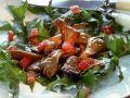 Fried Oyster Mushrooms on Tomato Dandelion Salad recipe