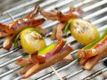 Grilled Sausage Skewers with Potatoes and Snow Peas recipe