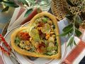 Heart-Shaped Pizza with Shrimp, Zucchini and Cherry Tomatoes recipe