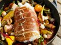 Herb Stuffed Cod with Roasted Vegetables recipe