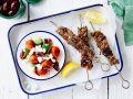 Marinated Pork Skewers with Greek Salad recipe