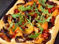 Pastry Pizza with Bell Peppers and Arugula recipe