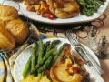 Pork Chops with Asparagus and Nectarine Salad recipe