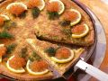 Potato and Onion Tart with Salmon Caviar recipe