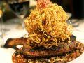 Rib Eye Steaks with Potato Straws and Lentils recipe