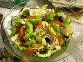 Salad with Feta, Cucumber, Tomato, Olives, Onions and Chicken Strips recipe