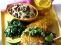 Sea Bass with Potato Crust, Bean Rice and Salsa recipe