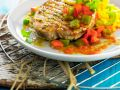 Seared Tuna Steaks with Stir-Fried Bell Peppers recipe