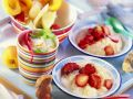 Semolina Pudding with Fruit Skewers and Lemon Cream recipe