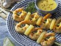 Shrimp and Pineapple Skewers with Coconut Dip recipe