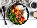Tomato Sesame Tofu with Green Beans recipe