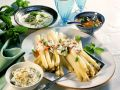 White Asparagus With Spicy Sauces recipe