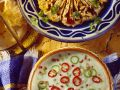 Yogurt-Cucumber Soup with Chickpea Dip recipe