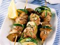 Zucchini and Lamb Skewers with Yogurt and Onion Dip recipe