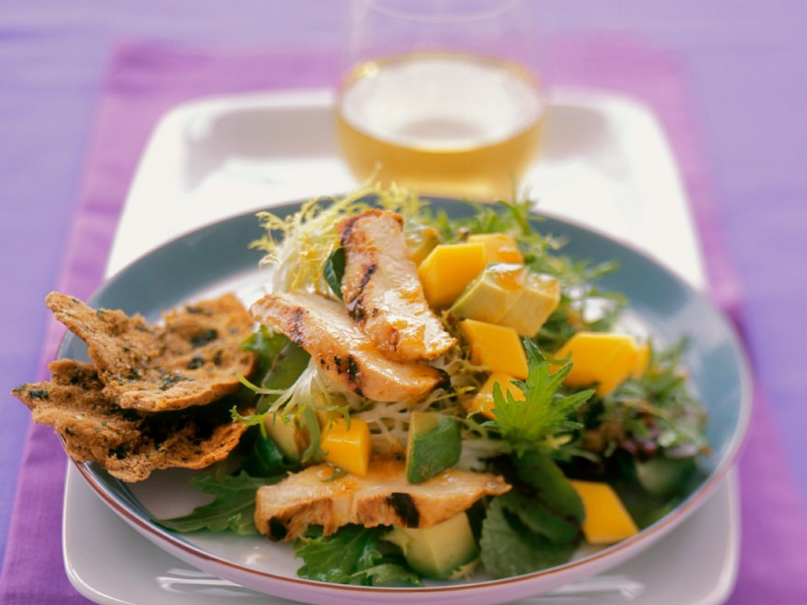Frisee Mango And Avocado Salad With Grilled Chicken