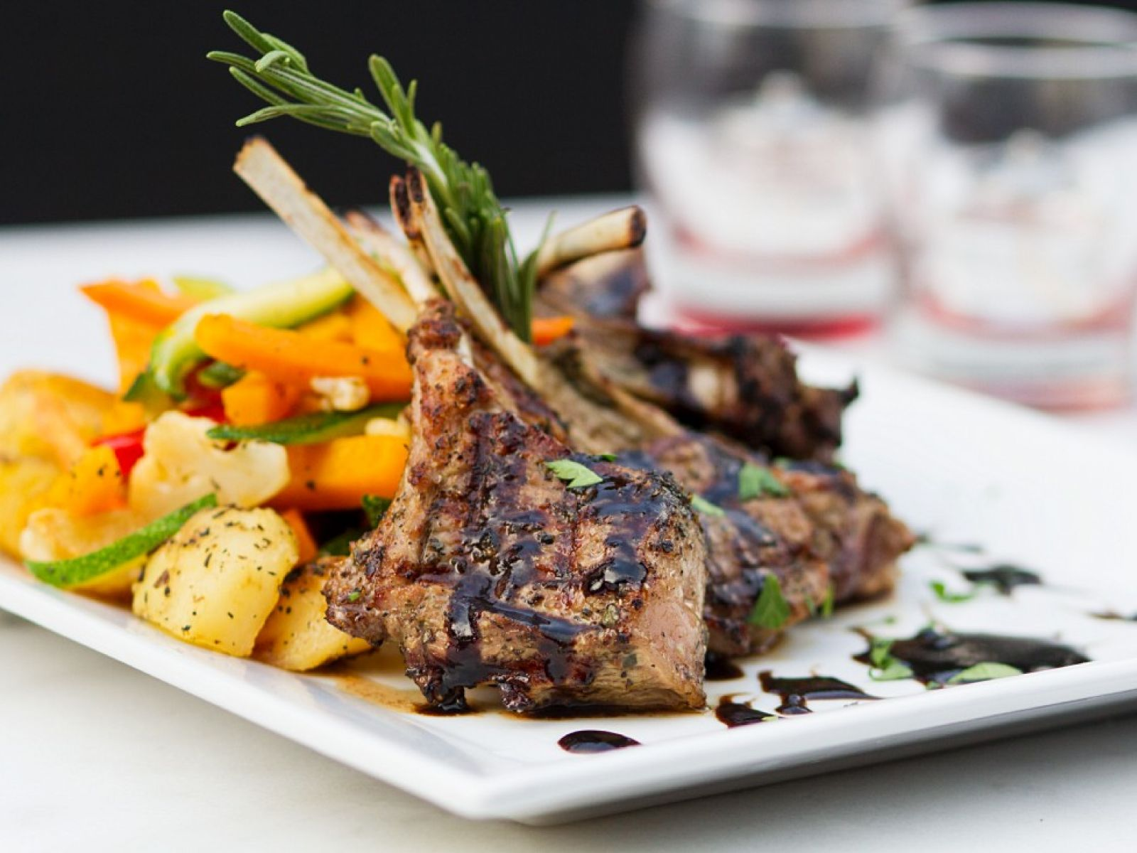 lamb chops with vegetables recipe Grilled Lamb Chops with Mixed Vegetables