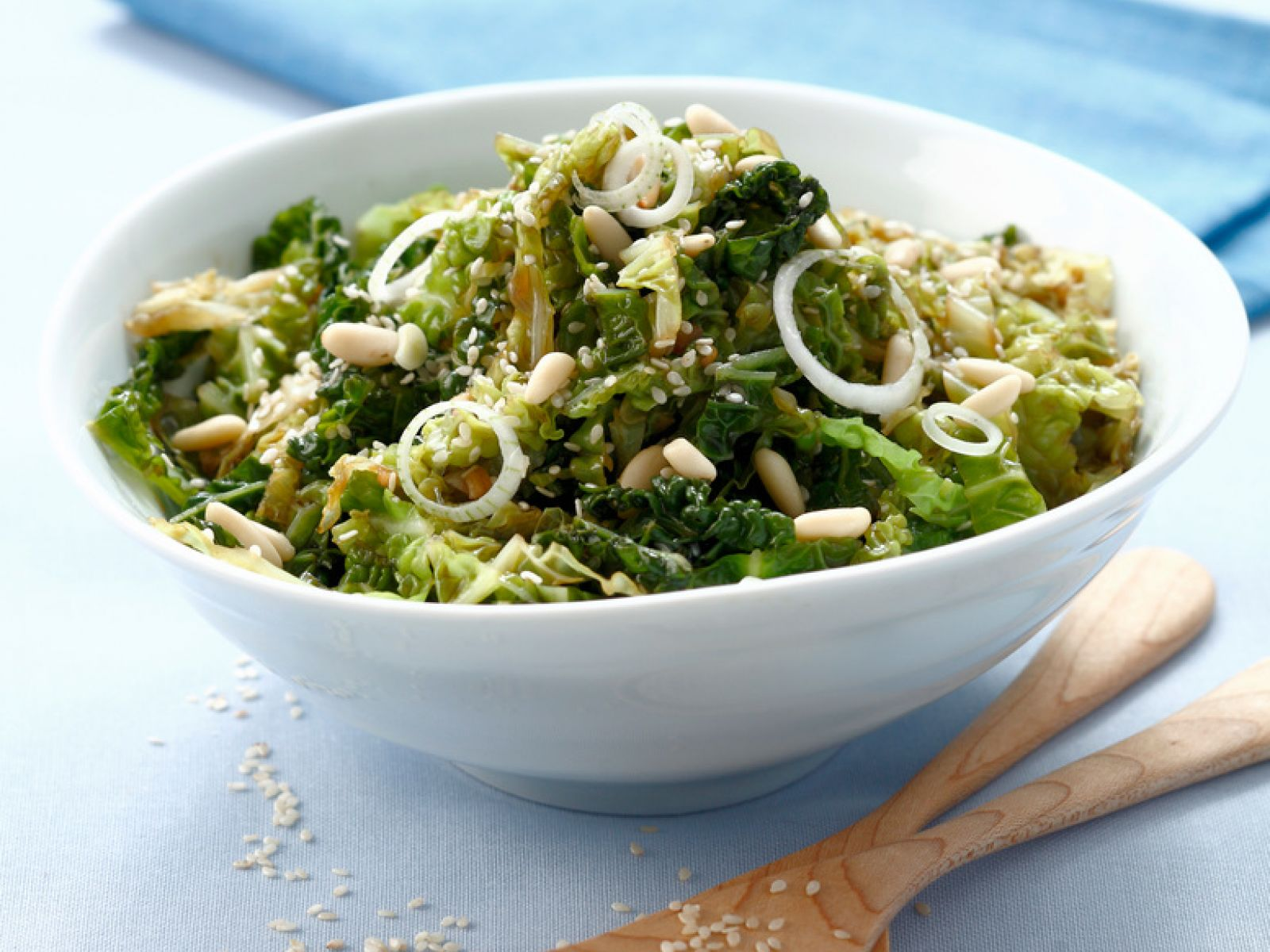 Savoy Cabbage With Pine Nuts And Sesame Seeds Recipe Eat Smarter Usa