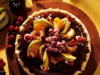 Almond Cake with Chocolate and Fruit recipe