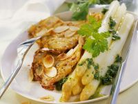 Almond Coated Veal Schnitzel with White Asparagus recipe