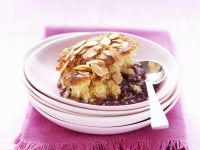 Almond Pudding with Plums