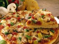 American Pizza with Mushrooms, Peppers and Onions recipe