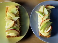 Apple Slices with Cream on Pastry