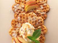 Apple Waffles with Yogurt Cream