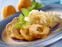 Apricot and Lemon Balm Stuffed Chicken Breasts with Almond Rice recipe