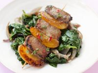 Apricot and Pork Skewers with Spinach and Vegetables recipe
