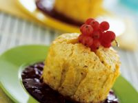 Apricot Rice Muffins with Red Currant Sauce