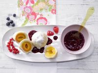 Apricot Yeast Dumplings with Berry Sauce recipe