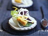 Asian Appetizer with Tofu, Sprouts and Krupuk