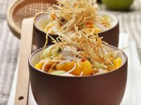 Asian Coconut-Chicken Soup with Mango and Crispy Noodles recipe