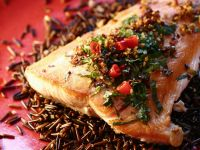 Asian-Inspired Pan Roasted Salmon and Wild Rice recipe