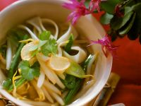 Asian Rice Noodles with Vegetables and Broth recipe