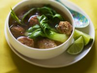 Asian Soup with Bok Choy and Meatballs recipe