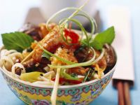 Asian Style Pasta Salad with Shrimp Skewers recipe