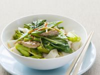 Asian-Style Pork on Rice Noodles recipe