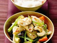 Asian-Style Swordfish with Cashews and Vegetables recipe