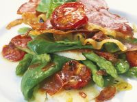 Asparagus Salad with Spinach and Serrano Ham recipe