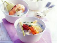 Asparagus Soup with Prawns recipe