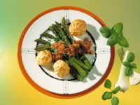 Asparagus with Cheese Profiteroles recipe