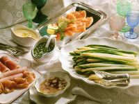 Asparagus with Side Dressings recipe